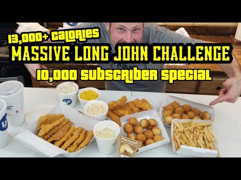 13,000 Calorie Long John Silver's (FISH & CHIPS)  Challenge- 10,000 Subscriber SPECIAL - MAN Vs FOOD