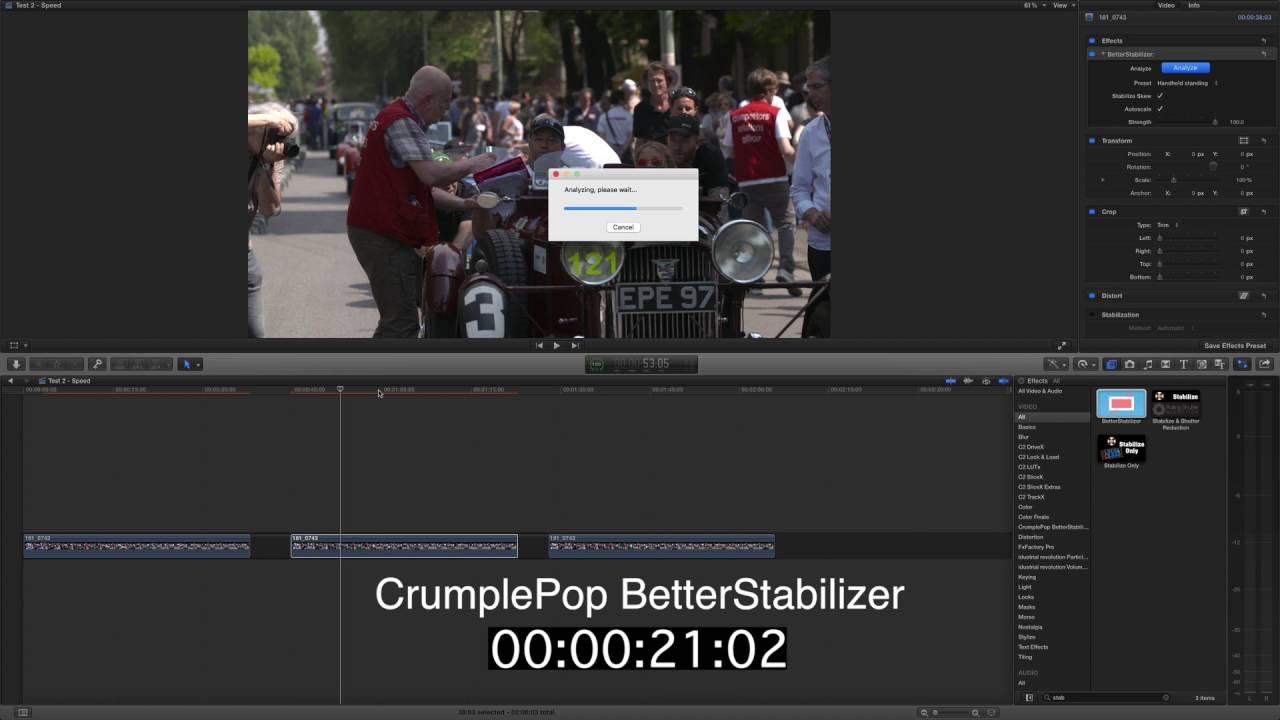 Stabilisation Lockdown Test! FCPX v CrumplePop BetterStabilizer v
