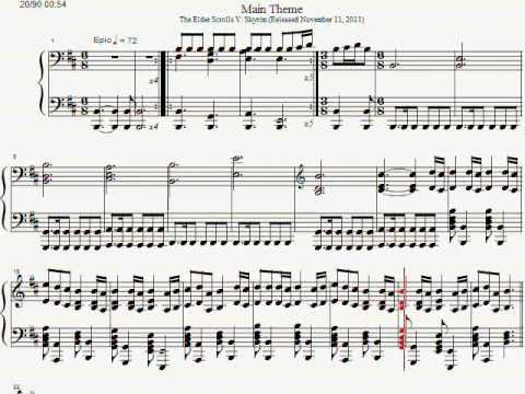 Skyrim Main Theme Piano Sheet Music (The Elder Scrolls TES V)