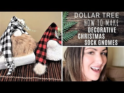 DOLLAR TREE CHRISTMAS SOCK GNOMES - HOW TO MAKE EASY GNOMES - DECORATIVE GNOMES