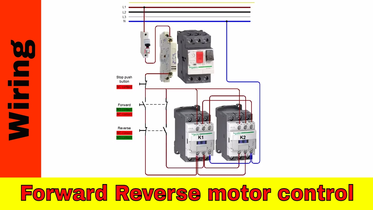 How to wire forward-reverse motor control and power circuit. - YouTube