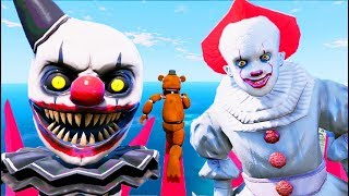 Withered Freddy's Ultimate Hardest Evil Clown Pennywise Deathrun! (GTA 5 Mods FNAF RedHatter)