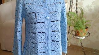 Жакет из квадратных мотивов (безотрывное вязание крючком). Часть 5. Фотоальбом. Сrochet jacket.