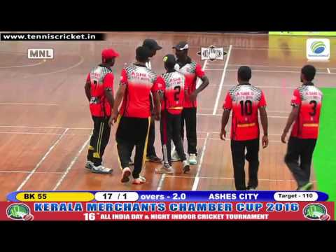 Mega Final | BK 55 VS Ashes City | KMCC 2016 | Kerala Indoor Cricket tournament