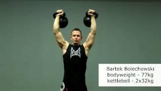 Double Military Press 2x32kg/5 reps/77kg bw/ Bartek