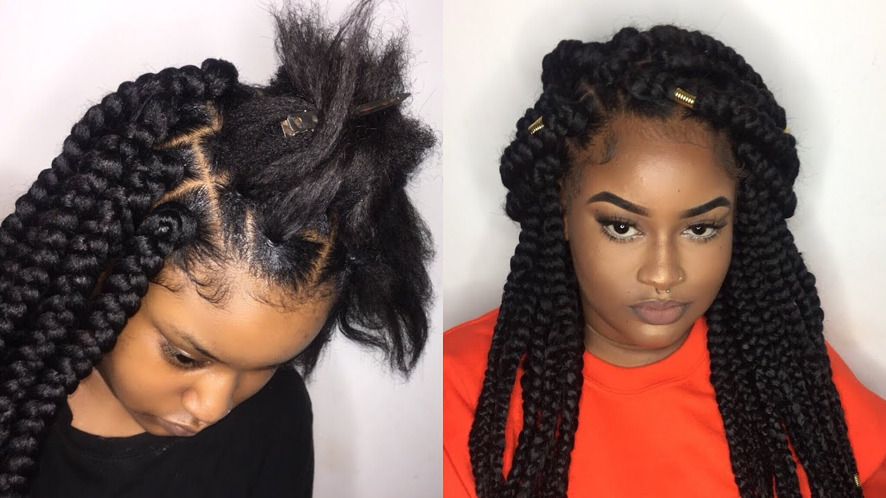 Jumbo Box Braids Tutorial Rubber Band Method Youtube