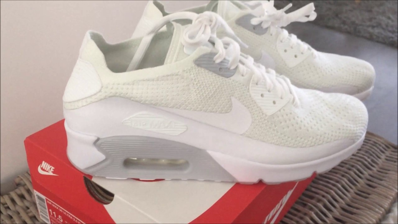 newest 79119 f8adc NIKE AIR MAX 90 ULTRA 2.0 WHITE FLYKNIT