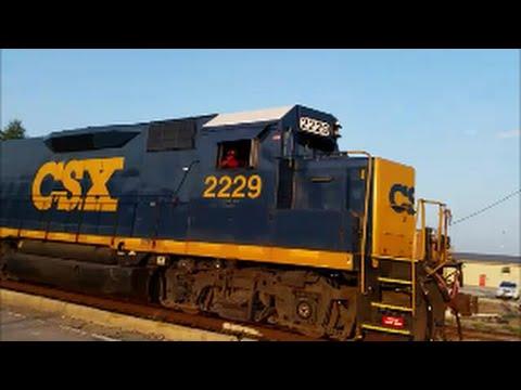 [CSX] 2229 Road Slug Ex Gp35 Leads W040-19 MOW Train With Killer K5LA In Fayetteville NC