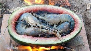 River Prawn Cooking in Watermelon Fruit / Eating Prawn