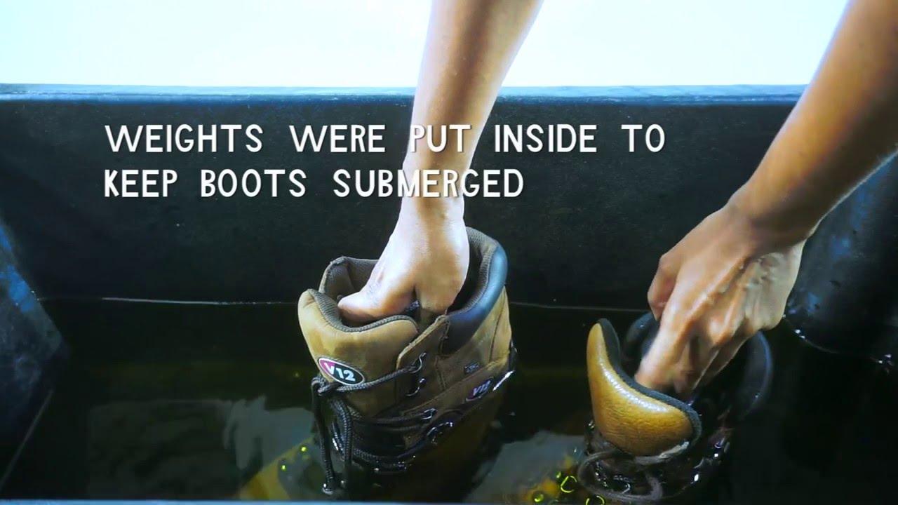 V12 Footwear Vs Leading brand - Waterproof Test See Who Won! - YouTube