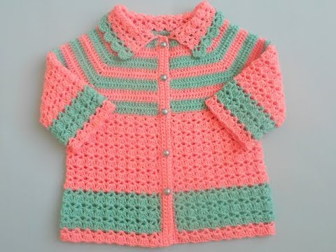 03172e58956a How to crochet easy baby sweater cardigan Tutorial - YouTube