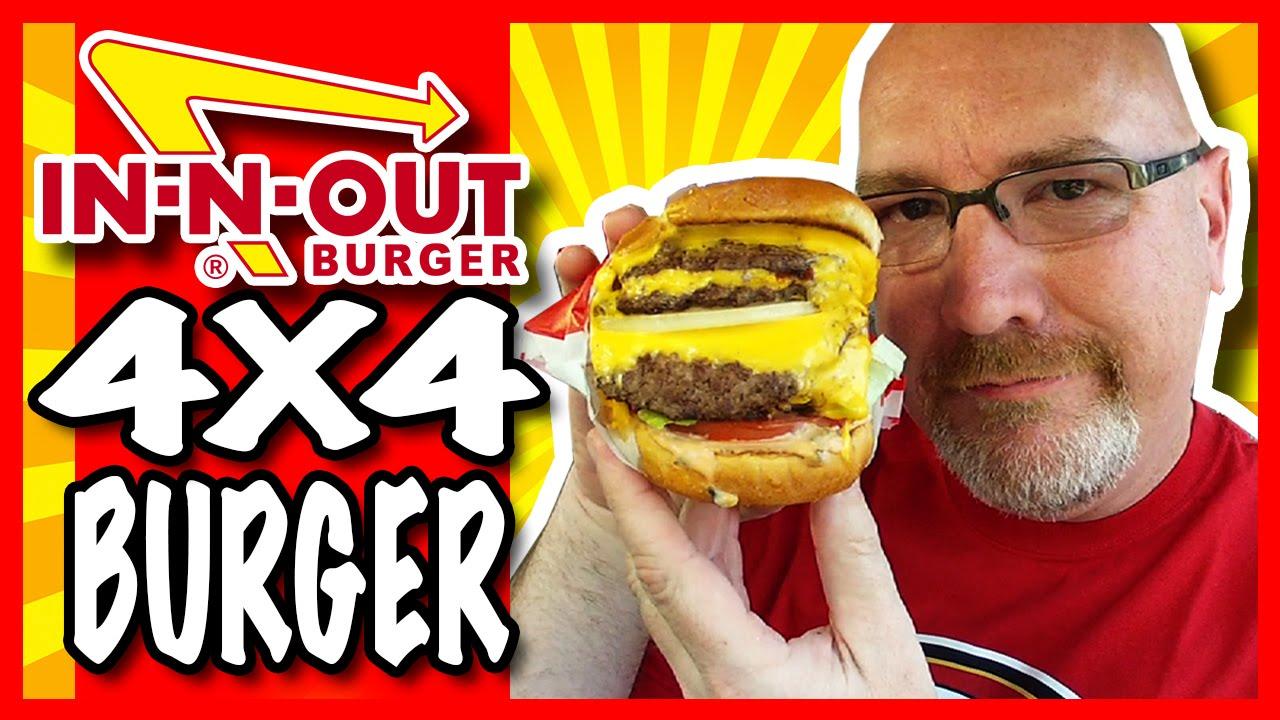 In-N-Out 4x4 Burger with Onions & Secret Menu Item Neapolitan Milkshake