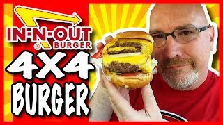 In-N-Out 4x4 Burger with Onions & Secret Menu Item Neapolitan Milkshake