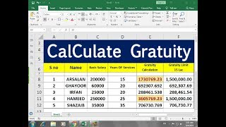 #307 How To Calculate Gratuity on MS EXCEL Advance Sheet Hindi