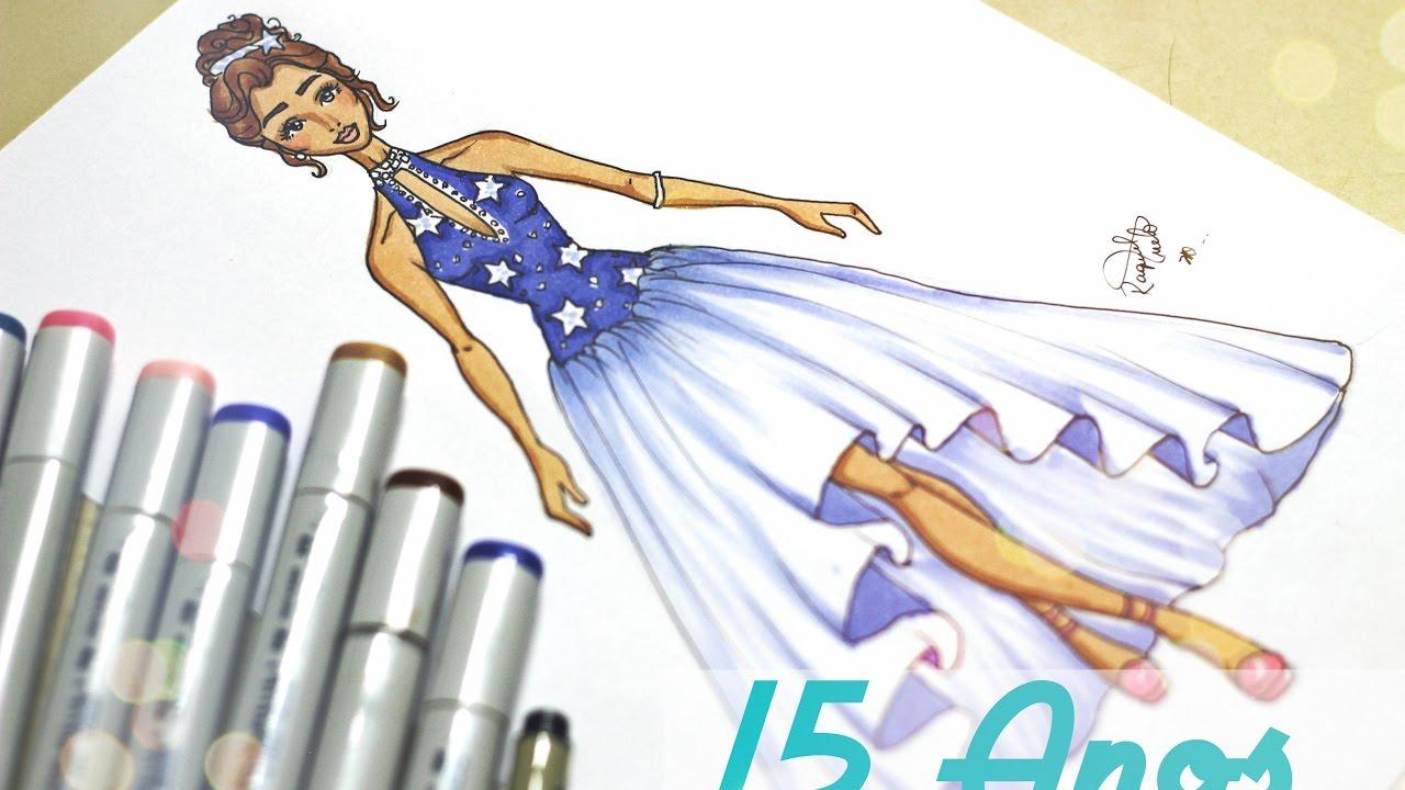 Desenho De Moda Vestido 15 Anos Star Youtube