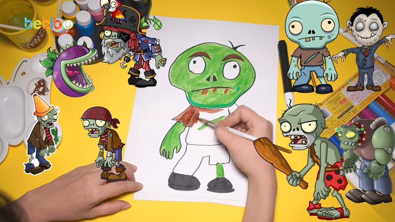 Coloring Pages For Plants Vs Zombies : Draw and color zombie halloween for kid plants vs zombie