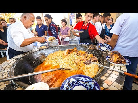Street Food in Uzbekistan - 1,500 KG. of RICE PLOV (Pilau) +