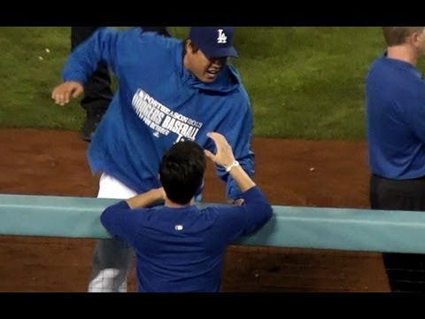 Hyun-jin Ryu 류현진 Celebrating with Uribe, Martin Kim and Dodger Owners 2013-10-7 - Dodger Stadium