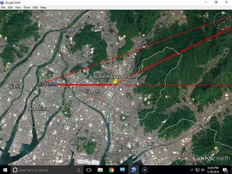 Enola Gay Atomic Bomb route of Hiroshima from Google Earth