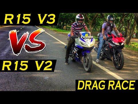 R15 v3 vs R15 V2 (Stock vs Mod) Drag Race    Quarter mile