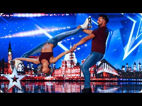 Rosie & Adam's JAW-DROPPING Roller skate routine astounds Judges | Auditions | BGT 2019