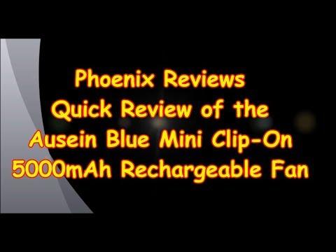 ausein-blue-mini-clip-on-5000mah-rechargeable-fan