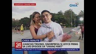 """Juancho Trivino, sinorpresa si Joyce Pring sa live episode sa """"Unang Hirit"""""""