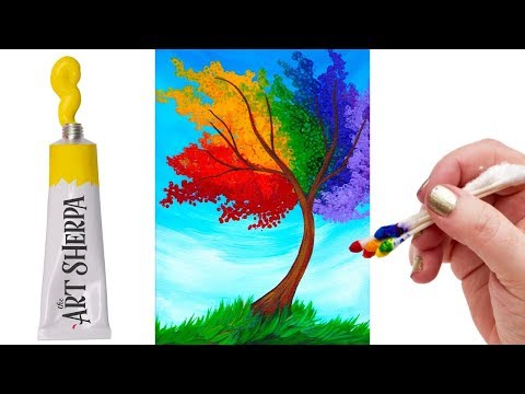 EASY Rainbow Willow Tree Q Tip Acrylic Painting tutorial 🌈🎨💜