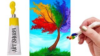 EASY Rainbow Willow Tree Q Tip Acrylic Painting tutorial 🌈🎨💜