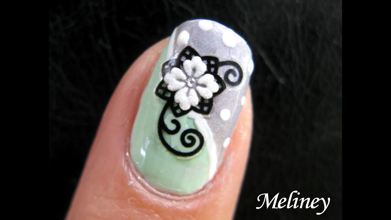 Flower nail art tutorial snow flower design sticker mint grey flower nail art tutorial snow flower design sticker mint grey polka dot how to easy basic cool youtube prinsesfo Gallery