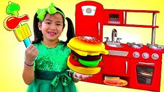 재니 귀여운 주방 놀이 세트 어린이 음식 장난감 바베큐 요리 가상 놀이