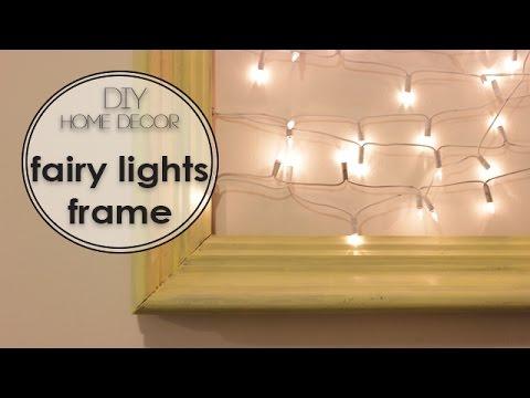 DIY wall art | fairy lights frame - מסגרת נורות לסלון - YouTube