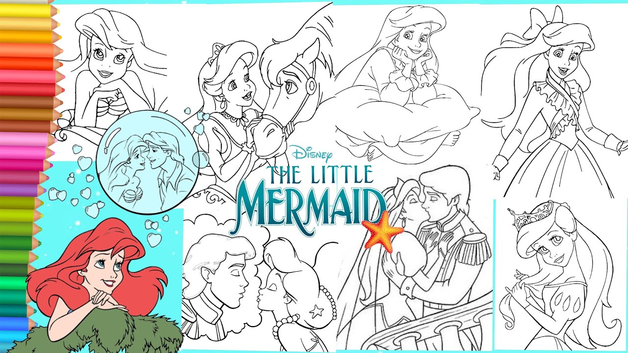 Coloring Disney Princess Ariel Prince Eric The Little Mermaid Coloring Pages Book Youtube