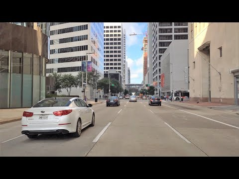 Driving Downtown 4K - Houston's Center - Texas USA