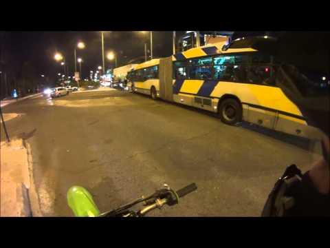 motocross beating traffic at night in Athens!