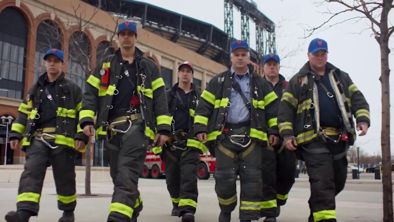 The NYPD and FDNY wear their caps for Opening Day - YouTube 1e58cc615ef