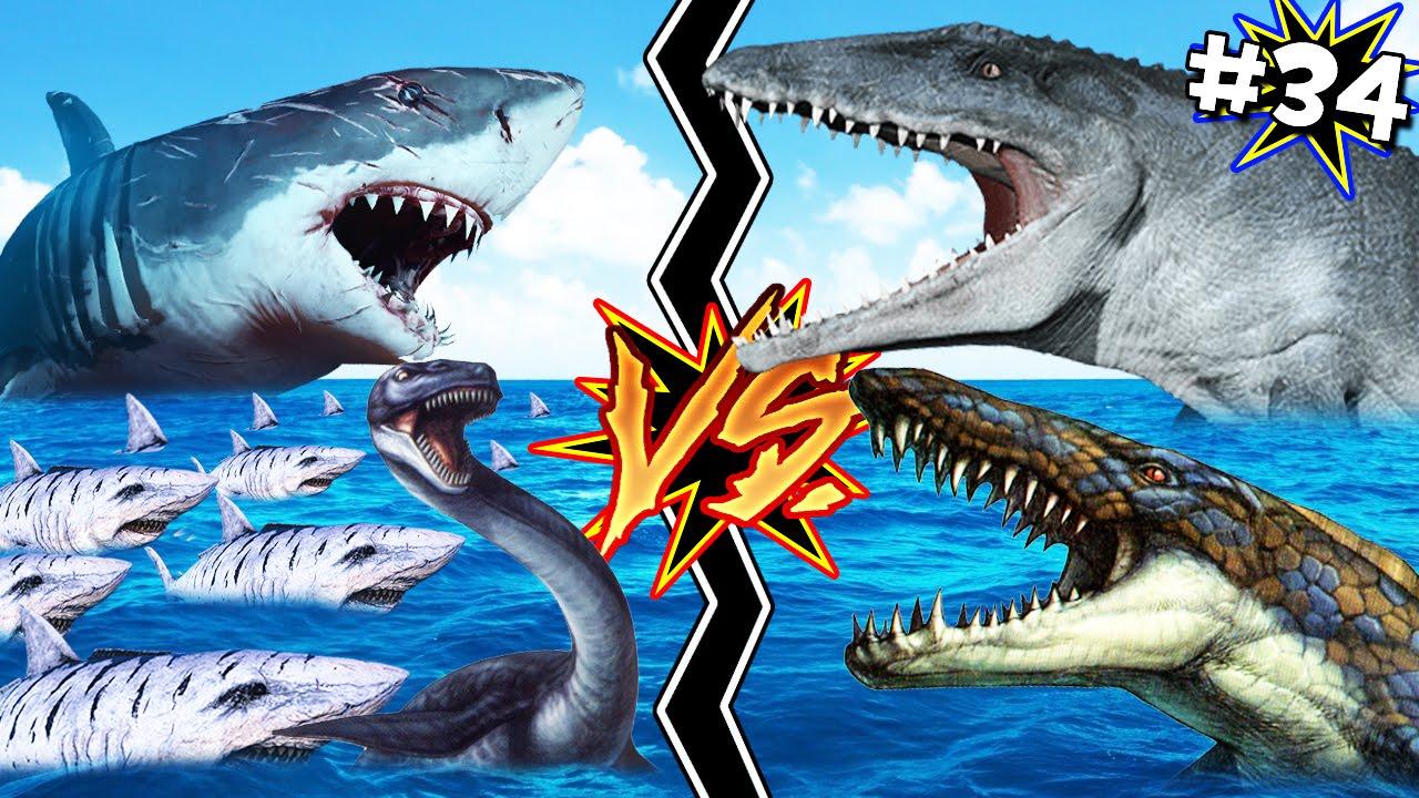 ejercito megalodon vs mosasaurio ark 34 youtube