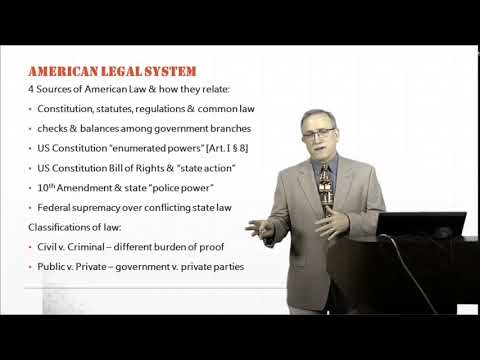 Introduction to Law:   American Legal System