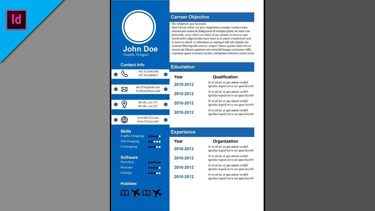 design cv resume in adobe indesign cc 2018