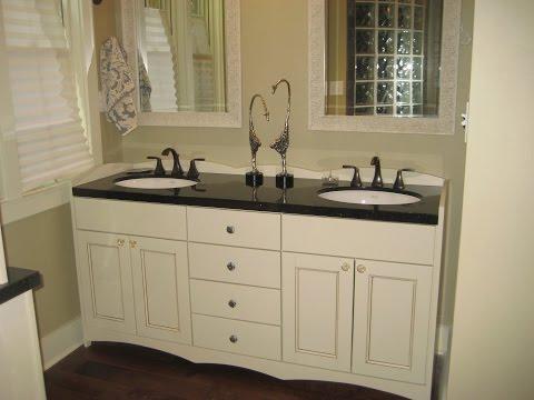 Likable White Bathroom Vanity with Black Top Design Ideas