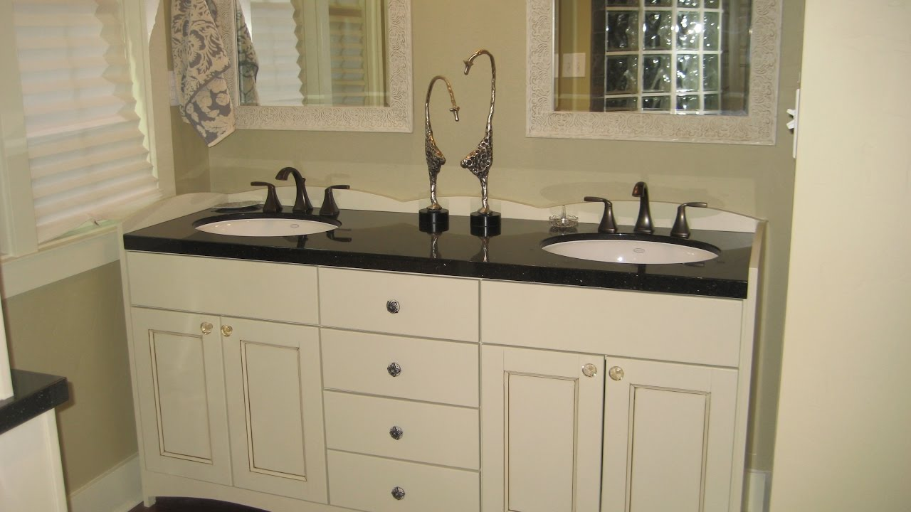 Likable White Bathroom Vanity With Black Top Design Ideas