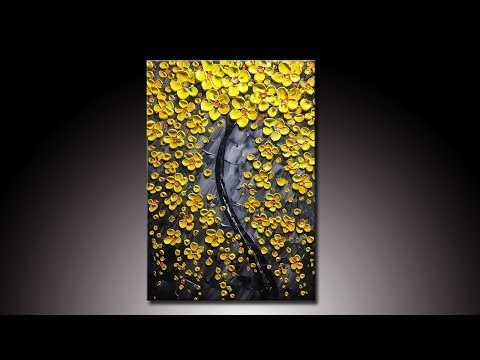 Yellow Flower-tree Modern Home Artwork Thick Palette Knife