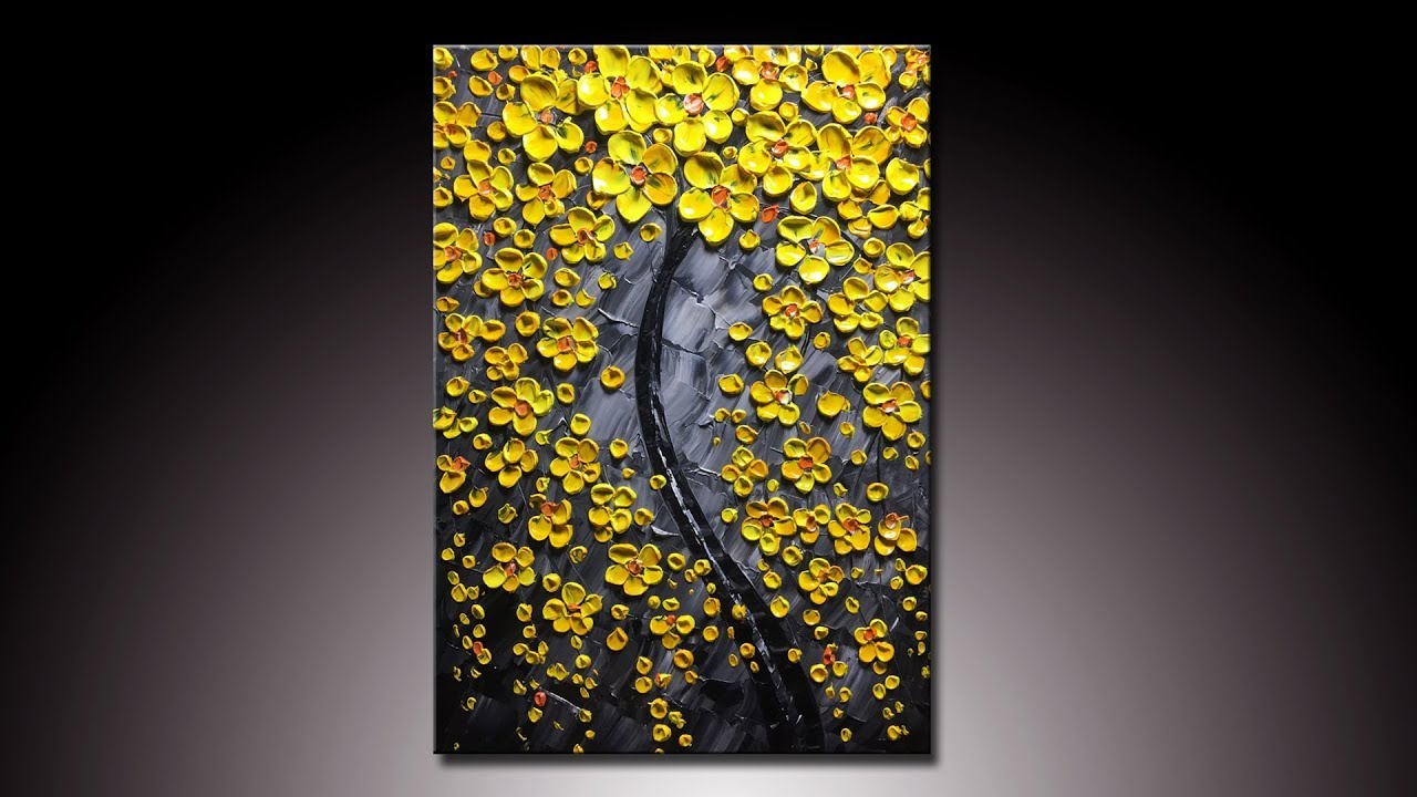 Yellow flower tree modern home artwork thick palette knife youtube yellow flower tree modern home artwork thick palette knife mightylinksfo