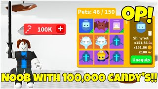 NOOB TO PRO starting with *100,000* Candy's!! [ROBLOX SABER SIMULATOR]