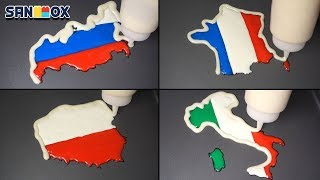 National Flag Map Pancake art - France, Italy, Poland, Russia