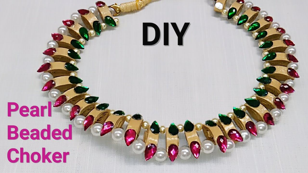 How To Make Pearls Jewellery At Home||pearls necklace - YouTube