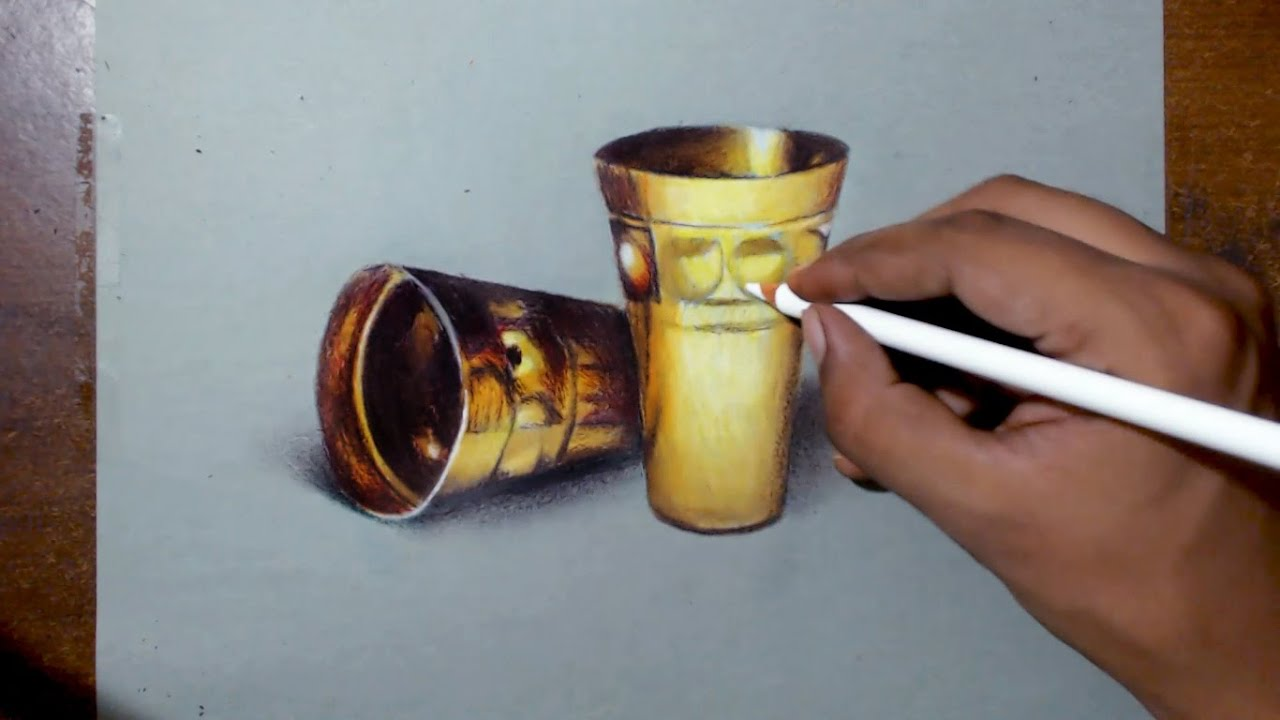 drawing golden cups - Prismacolor pencils - YouTube