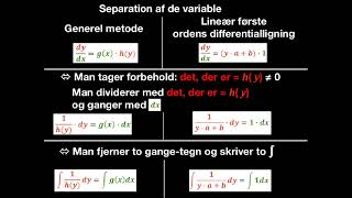 løse lineær differentialligning ved separation af variable