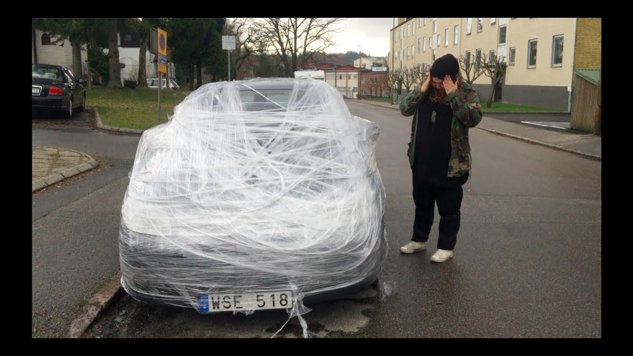 Plastic Wrap Car >> Plastic Wrap Car Prank Youtube