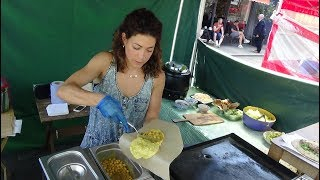 Trinidad Street Food: A Chana Doubles for only £2.00 at Trini Kitchen, Lower Marsh Market, London.